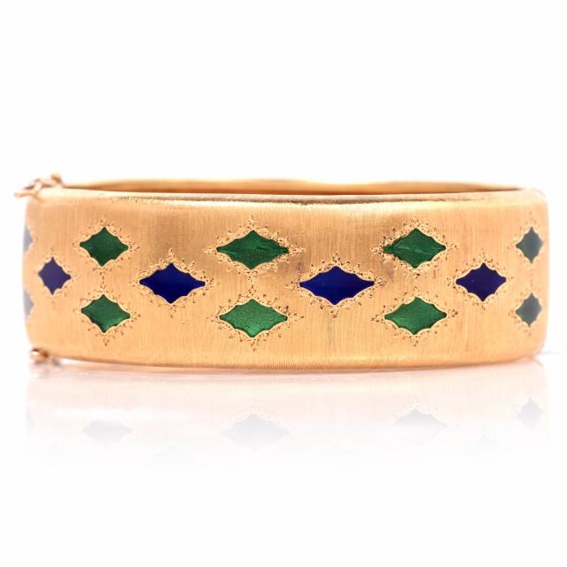 "Image of ""Buccellati 18K Yellow Gold & Enamel Bangle Bracelet"""