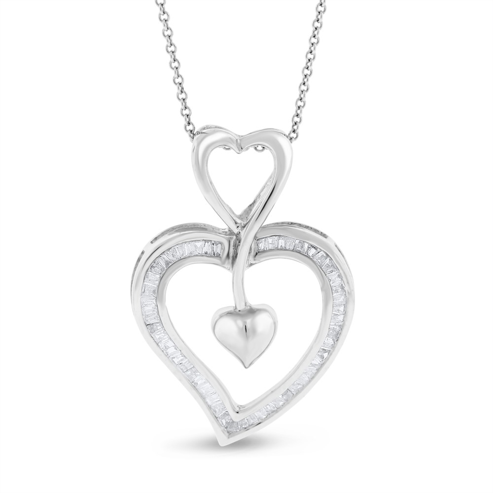 """Image of """"14K White Gold 1.00ct. Diamond Large Heart in Heart Pendant Necklace"""""""
