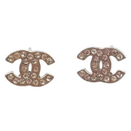 Chanel CC Classic Silver Tone Metal & Crystal Piercing Earrings