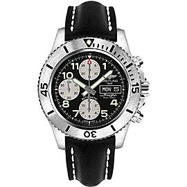 Breitling Superocean A13341C3/BD19 Stainless Steel & Leather with Black Dial Automatic 44mm Mens Watch