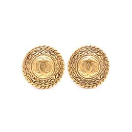 Chanel Gold Tone Hardware CC Logo Round Earrings