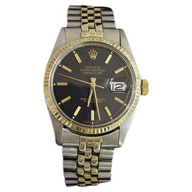 Rolex Datejust Two Tone 14K Gold/Stainless Steel Black Dial & Jubilee Band Mens Watch