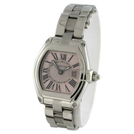 Cartier Roadster W62017V3 Stainless Steel & Pink Dial Womens Watch