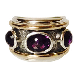 David Yurman Sterling Silver & 14K Yellow Gold Amethyst Renaissance Ring Size 7