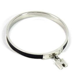 Hermes Leather And Silver Tone Metal H Logo Bangle Bracelet