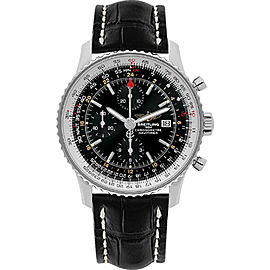 Breitling Navitimer World A2432212-B726BKCD Stainless Steel / Leather Automatic Black Dial 46mm Mens Watch