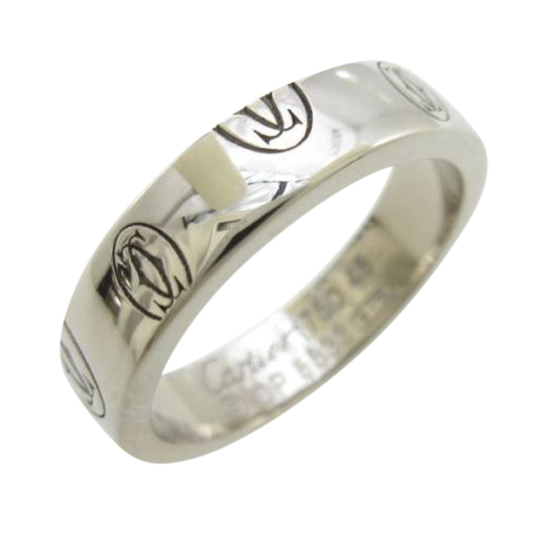 "Image of ""Cartier 18k White Gold Happy Birthday Small Ring Size 3.75"""