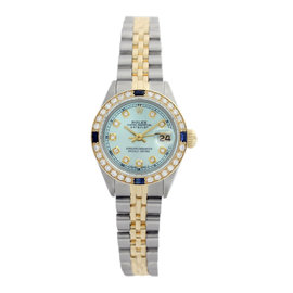 Rolex Datejust 6917 18K Yellow Gold & Stainless Steel Ice Blue Dial Sapphire & Diamonds 26mm Womens Watch