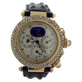 Cartier Pasha Moonphase Diamond 18K Yellow Gold 38mm Mens Watch