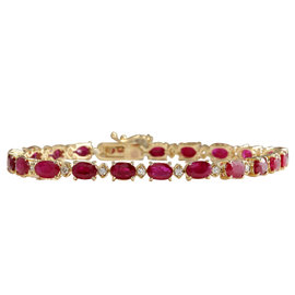 14K Yellow Gold with 12.45ct. Red Ruby & 0.50ct. Diamond Bracelet