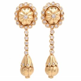Etruscan Revival Style Yellow Gold Diamond Pendant Earrings