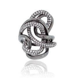 18K White Gold Gray Rhodium 2.03ct Diamond Sailors Knot Ring Size 7.25