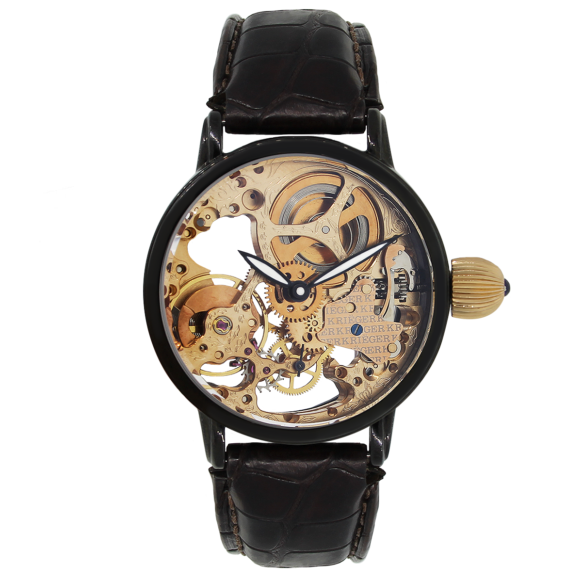 "Image of ""Krieger Gigantium K7007P Black PVD Stainless Steel Skeleton Leather"""