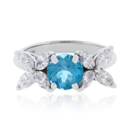 Tiffany & Co. Victoria Platinum 1ct Aquamarine & 0.91ct Diamond Ring Size 5.5
