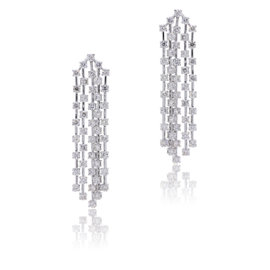 14K White Gold with 6.98ct Diamond Dangle Earrings