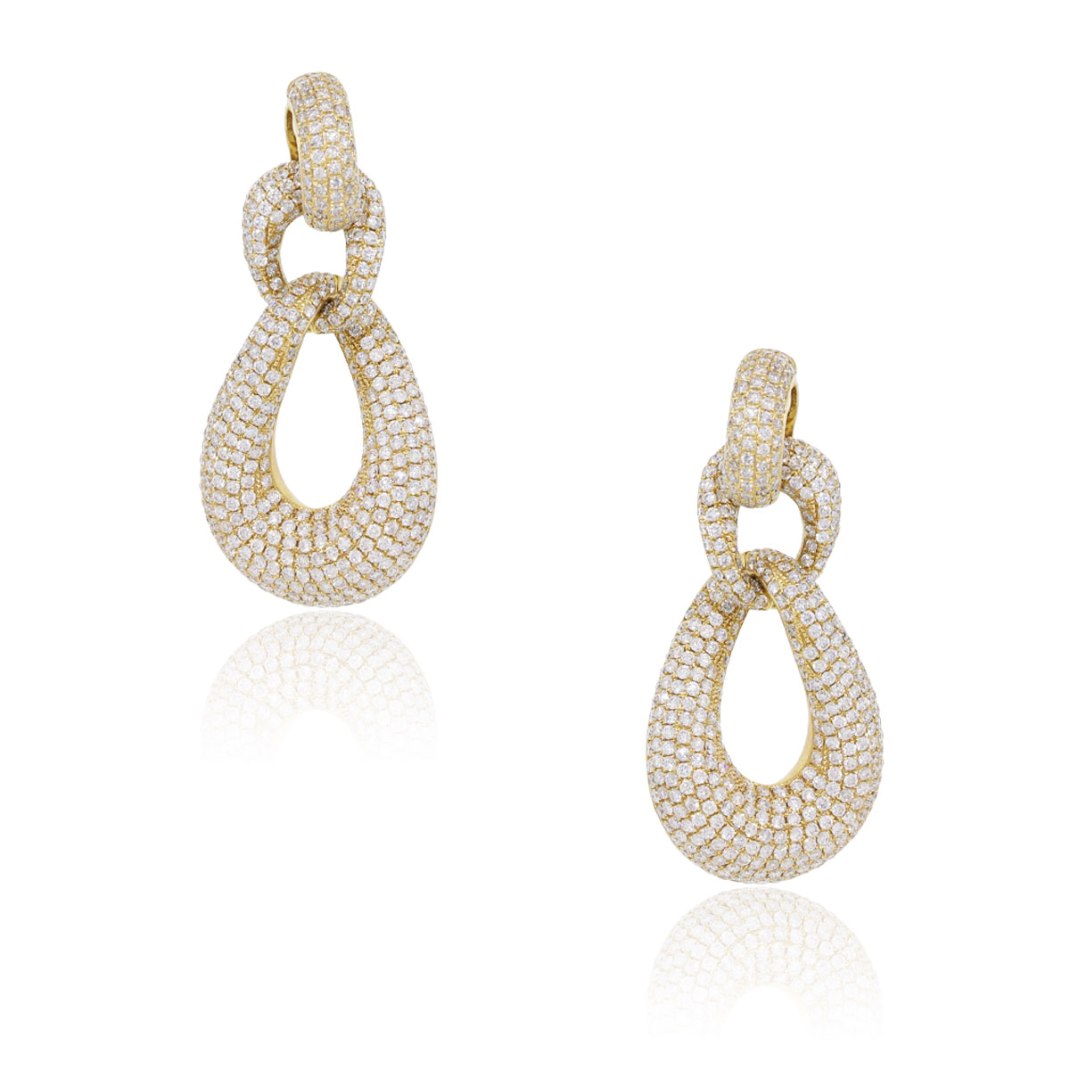 "Image of ""18K Yellow Gold with 11.58ct Diamond Door Knocker Earrings"""
