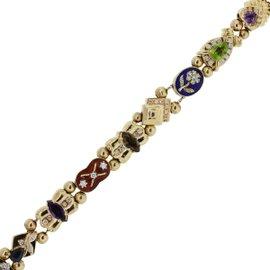 14K Yellow Gold with Diamond, Topaz, Smoky Quartz, Sapphire, Emerald, Opal, Tourmaline, Peridot, Amethyst Bracelet