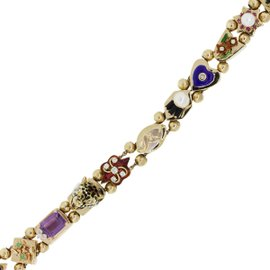 14K Yellow Gold with Diamond, Pearl, Onyx, Emerald, Amethyst & Sapphire Bracelet