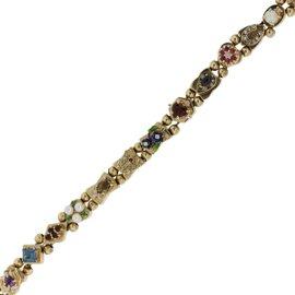 14K Yellow Gold with Diamond, Opal, Tourmaline, Sapphire, Emerald, Topaz, Amethyst, Smoky Quartz & Pearl Bracelet