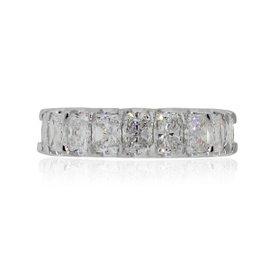 18K White Gold 5.76ct Radiant Cut Diamond Eternity Band Size 6