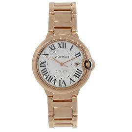 Cartier Ballon Bleu 2999 18K Rose Gold & Silver Roman Dial 42mm Mens Watch