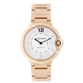 Cartier Ballon Bleu 18K Rose Gold & Silver Diamond Dial 36mm Womens Watch