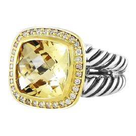 David Yurman Sterling Silver 18K Yellow Gold Albion Lemon Citrine Diamonds Ring Size 7