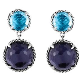 David Yurman Sterling Silver Chatelaine Double Drop Black Orchid and Blue Topaz Earrings