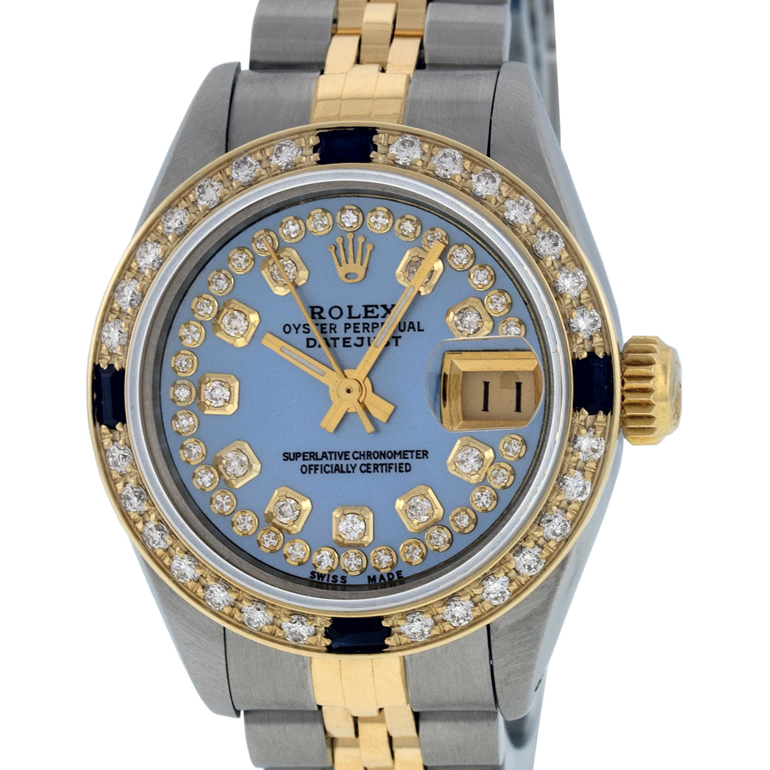 "Image of ""Rolex Datejust Stainless Steel and 18K Yellow Gold Blue Mother of"""