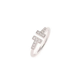 Tiffany & Co. 18K White Gold Diamond Wire Ring Size 6