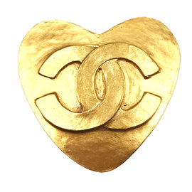 Chanel 24K Gold Plated CC Heart Brooch