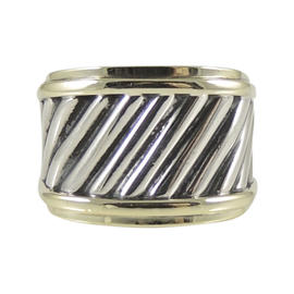 David Yurman Sterling Silver 14K Yellow Gold Thoroughbred Cable Cigar Band Ring Size 5