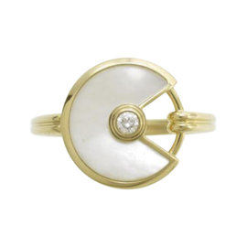 Cartier 18K Yellow Gold with Mother of Pearl Amulet Extra Small Ring Size 4.5