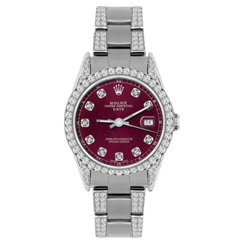 """Image of """"Rolex Date Stainless Steel Pink MOP & 4.5ct Diamond 34mm Watch"""""""