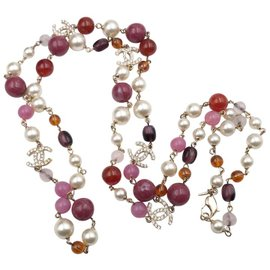 Chanel Gold Tone Hardware with Crystal and Multi Red Faux Pearl Necklace