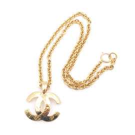 Chanel 24K Yellow Gold Plated Stitching CC Chain Necklace