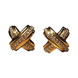 Tiffany & Co. 18K Yellow Gold 0.63 Ct Diamond X Cufflinks