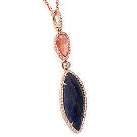 14K Rose Gold 9.68ct Slice Multi Sapphire and Diamonds Necklace