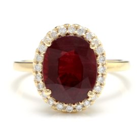 14K Yellow Gold 5.5ct Red Ruby and 0.3ct Natural Diamond Ring Size 7