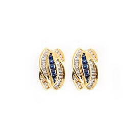 Tiffany & Co. 14K Yellow Gold Sapphire and Diamond Earrings