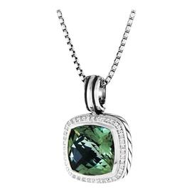 David Yurman Albion Sterling Silver With Prasiolite & Diamonds Pendant Necklace