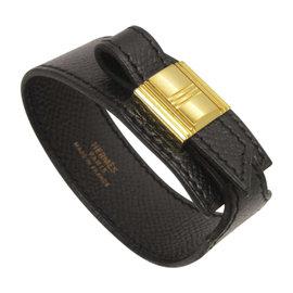 Hermes Gold Tone Hardware and Black Leather Artemis Bracelet