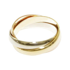 Cartier 18K Yellow, White, and Rose Gold Ring Size 4.5