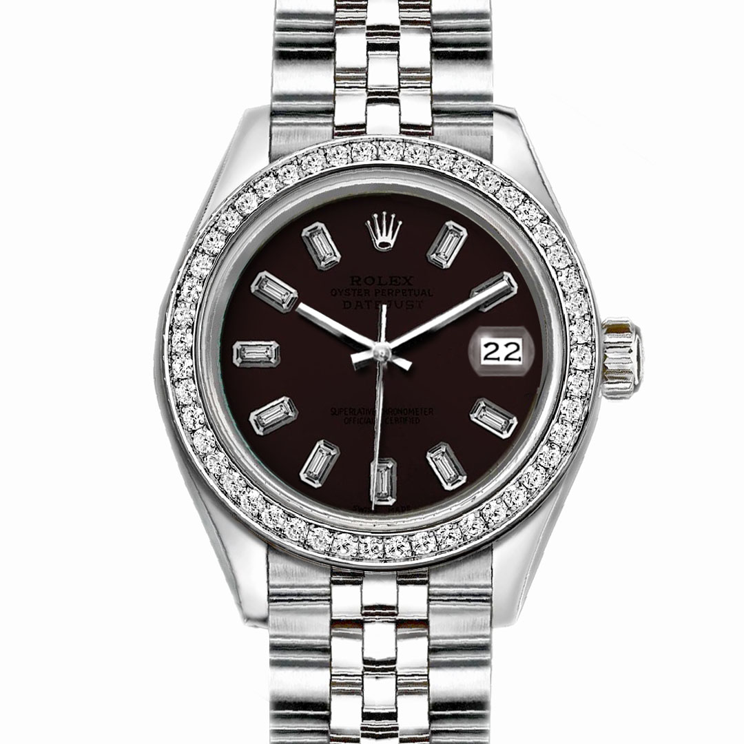 """Image of """"Rolex Datejust Stainless Steel with Custom Bezel and Dark Brown Dial"""""""