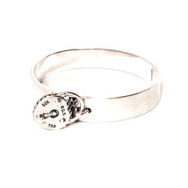 David Yurman Sterling Silver and 18K Yellow Gold Classic Cable Hook Buckle Bangle Bracelet
