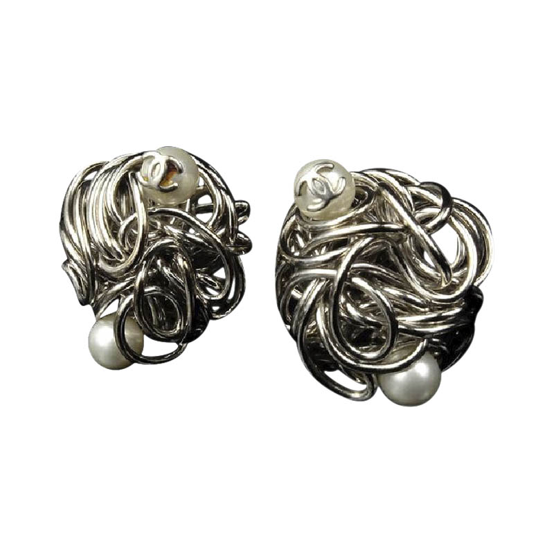"""Image of """"Chanel CC Silver Tone Metal Faux Pearl Knotted Earrings"""""""