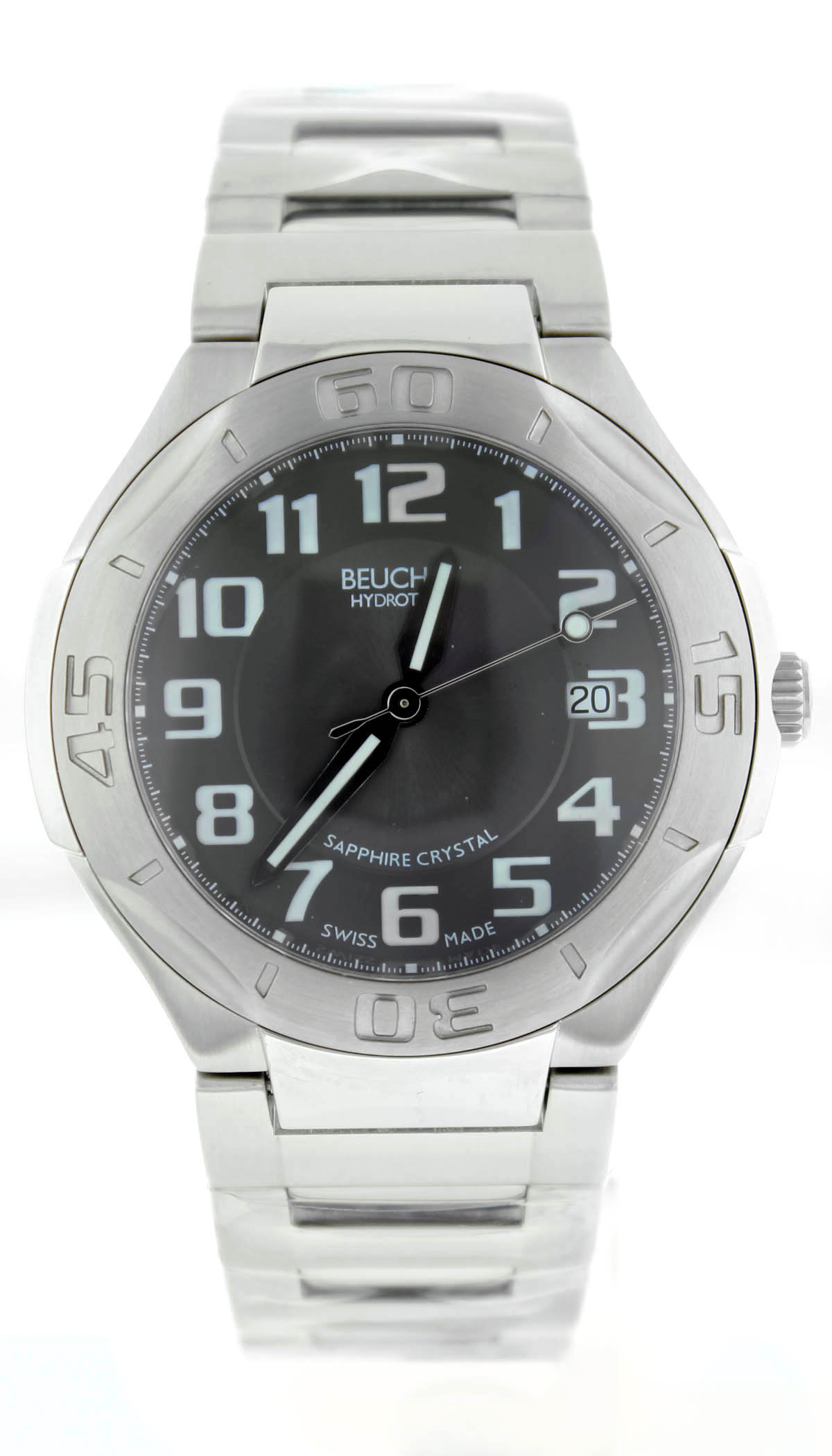"""Image of """"Beuchat Hydroteam Beu0211 Stainless Steel With Black Dial 42mm Mens"""""""