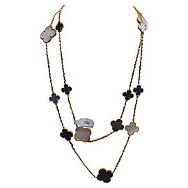 Van Cleef & Arpels 18K Yellow Gold MOP & Onyx 16 Motifs Alhambra Necklace VCARD79400
