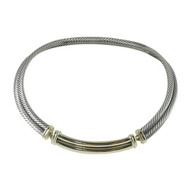 David Yurman 925 Sterling Silver & 14K Yellow Gold 2-Row Metro Cable Necklace