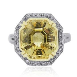 Platinum Sapphire Diamond Engagement Ring Size 6.5